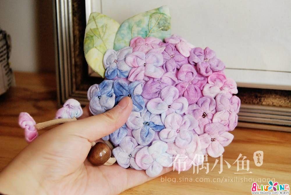 绣球花钥匙包-附绣球花瓣的做法