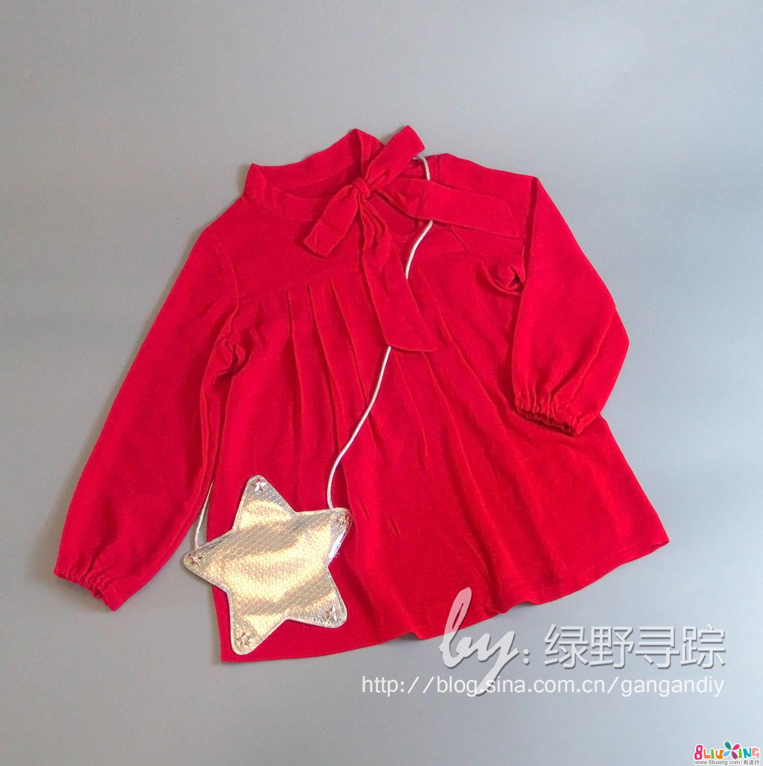 大红棉麻蝴蝶结领娃娃衫 附上领子的方法
