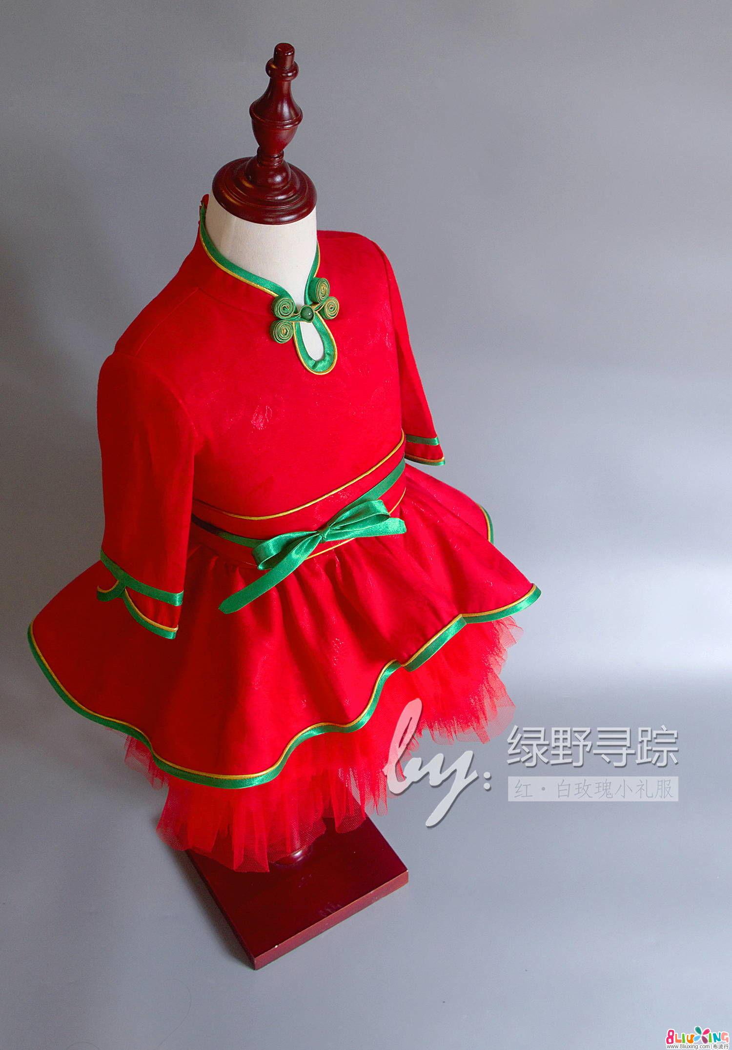 (老绿手工)红·白玫瑰小礼服裙 过程及图纸