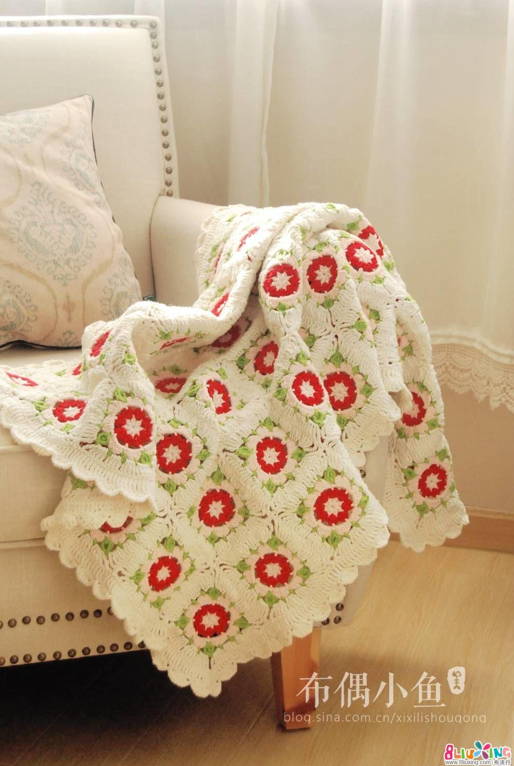 【布偶小鱼】钩针蔷薇花毯-附图纸