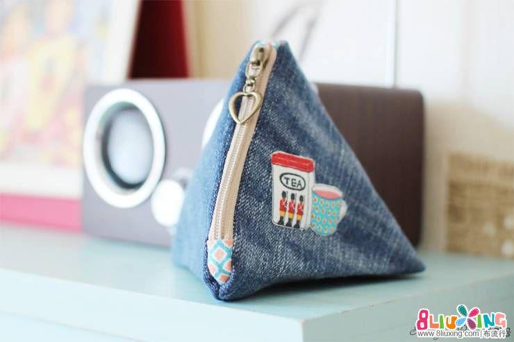牛仔裤改造成三角形零钱包教程,附带详细尺寸
