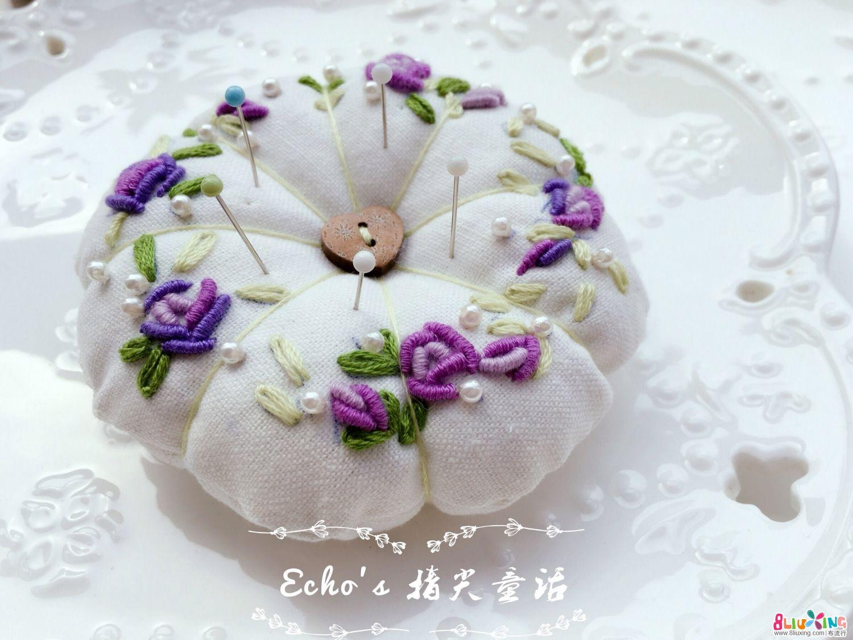 紫色玫瑰刺绣针插
