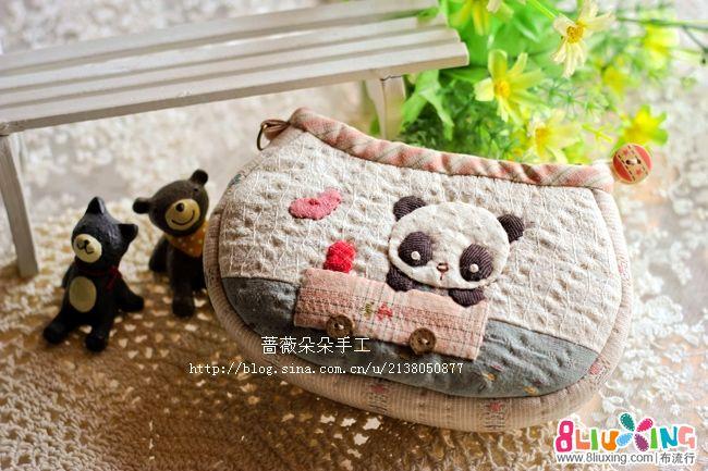 蔷薇朵朵手工--小熊猫手拿包