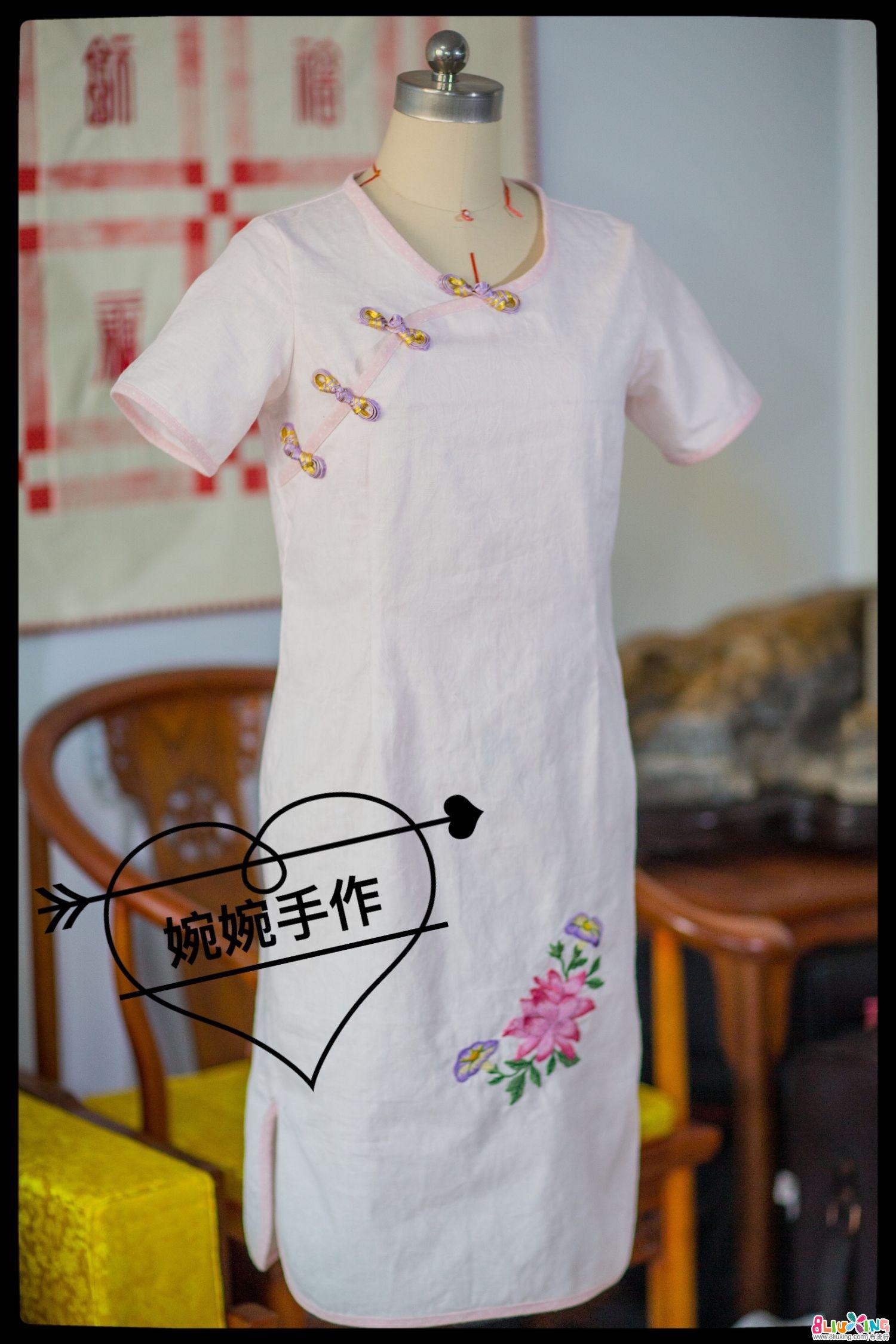 【婉婉手作】短袖包边绣花家常短款旗袍