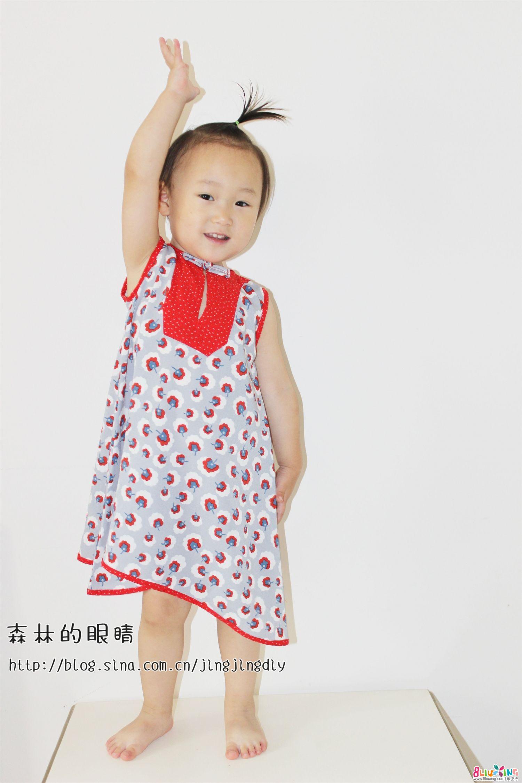 改良民族风儿童旗袍裁剪图,过程图