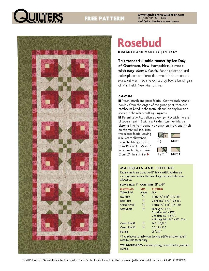 拼布花卉图谱(8):含苞玫瑰 (Rosebud)