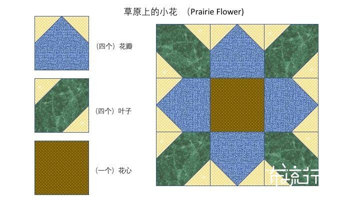 拼布花卉图谱:草原上的小花 (Prairie Flower)