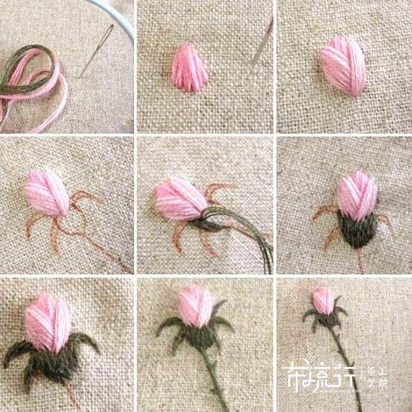 花苞刺绣方法,原来就是回针绣