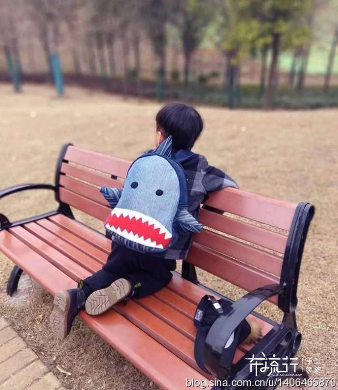旧牛仔改造鲨鱼背包,附包包制作过程~