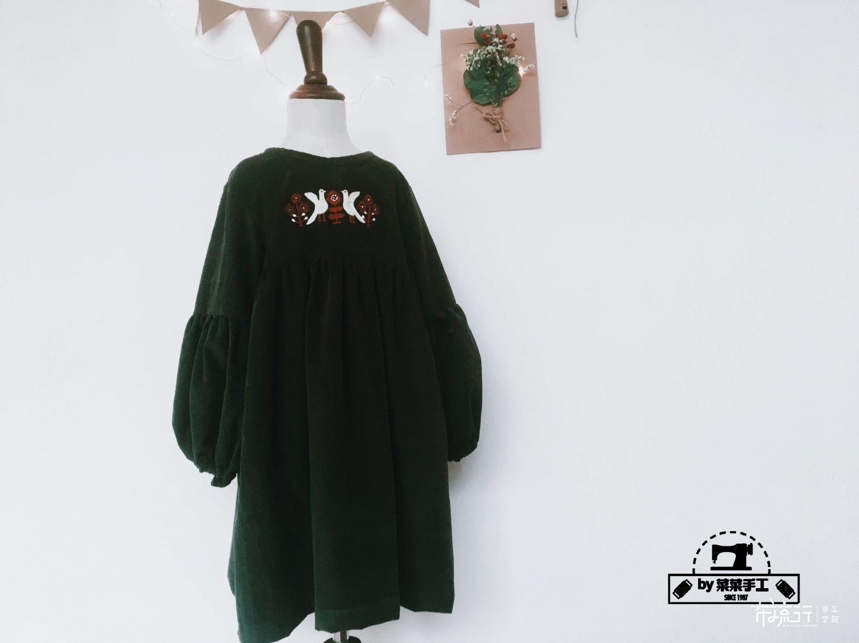 森系泡泡袖裙--附裁剪图教程