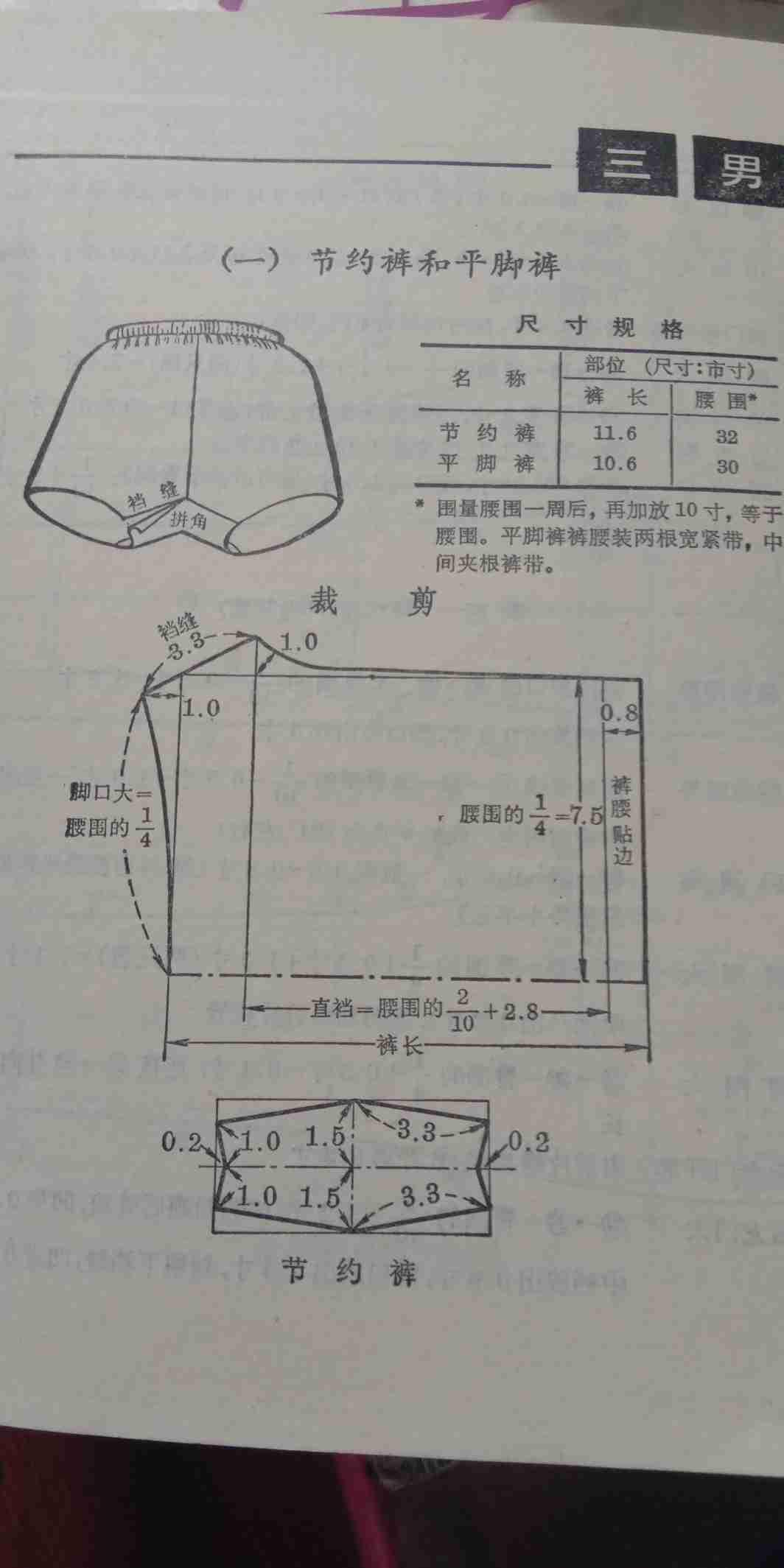 男式服装节约裤和平角裤裁剪图
