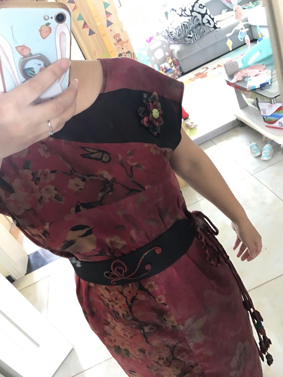 香云纱布头拼接连衣裙