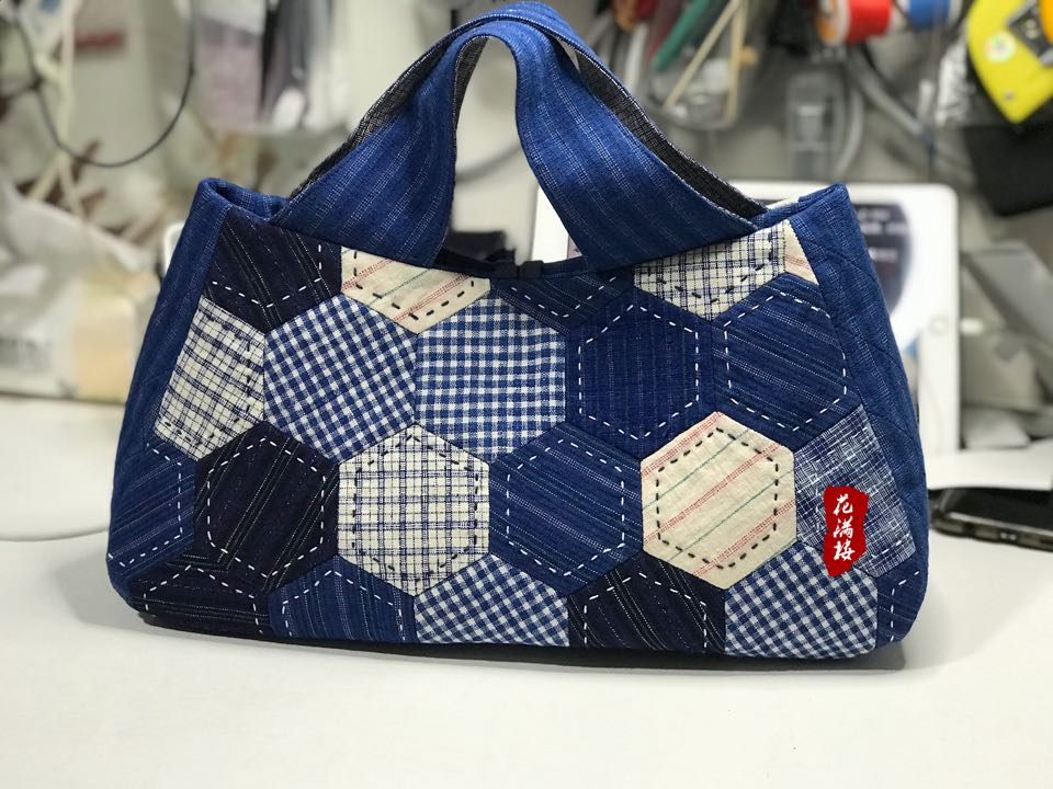老土布,蓝印花布,手染布,做成包包