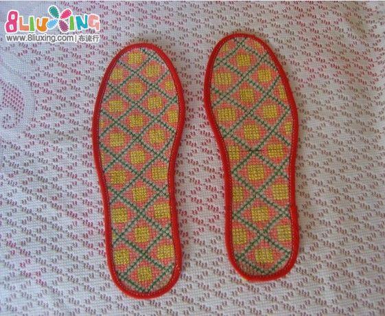 塑料鞋垫边的绣法