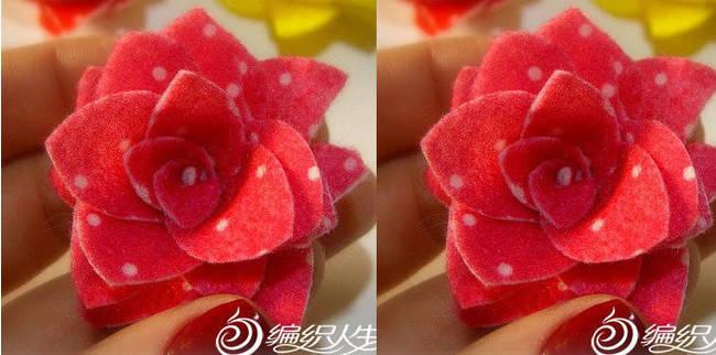 DIY手工布艺制作玫瑰花教程图解