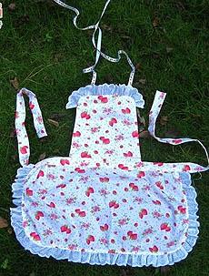悠然布语❤可爱樱桃草莓短围裙教程(附真人秀)