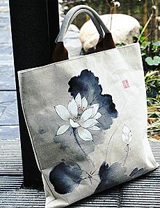 【子曰布绘】斗方一样的中国风手绘素麻拎包
