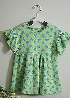 消灭星星之落肩款喇叭袖小裙和亲子长T,附过程&BB海量秀&图纸