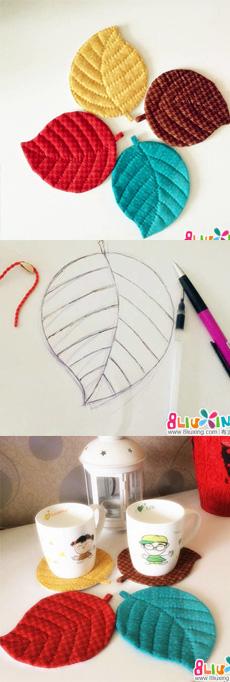 【西西手作】——原创树叶杯垫(有图纸)