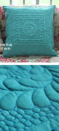 [迷布]纯纯滴机缝自由压线羽毛图案枕套1枚